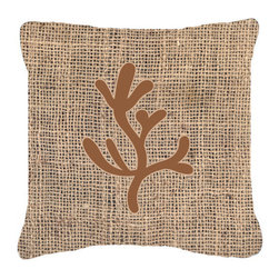 Caroline's Treasures - Coral Burlap and Brown Fabric Decorative Pillow Bb1103 - Indoor or Outdoor Pillow from heavyweight Canvas. Has the feel of Sunbrella Fabric. 18 inch x 18 inch 100% Polyester Fabric pillow Sham with pillow form. This pillow is made from our new canvas type fabric can be used Indoor or outdoor. Fade resistant, stain resistant and Machine washable..