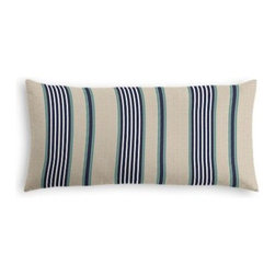 Gray, Blue & Teal Stripe Custom Lumbar Pillow - The perfect solo statement on a modern chair or bed, the rectangular lines of the Simple Lumbar Pillow are effortlessly chic. We love it in this classic blue, white and teal stripe against tan ground with just a nod to the nautical.
