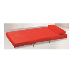 Fine Mod Imports - Romano Convertible Sofa Bed - Contemporary style. Warranty: One year. Red color. Assembly required. Seat height: 15 in.. Leg height: 5.25 in.. Sofa: 36 in. L x 30 in. W x 30 in. H. Bed: 36 in. L x 77.5 in. W x 10 in. HVersatility of form and simplicity that will work comfortably in any setting. Conversion from couch to bed is very simple.