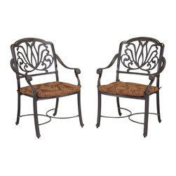 Home Styles - Home Styles Floral Blossom Set of Arm Chairs with Cushion in a Charcoal Finish - Home Styles - Outdoor Chairs - 5558802 - By combining outdoor elements such as ceremonial and abstract floral designs, the Floral Blossom Set of Arm Chairs with Cushion by Home Style is brought to life.