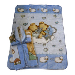 "Baby Mink Blanket and Baby Snuggle Set - 2 pcs, Blue - A great gift for all parents and babies! This is a great set, includes 1 Baby Blanket (43x55"") and 1 Baby snuggle/wrap (32x36"") for the baby. These blankets are carefully made with high quality material to provide warmth and comfort to the little one!"