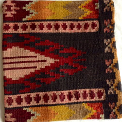 Authentic Turkish kilim - Black and burgundy kilim pillow cover - Antique Turkish kilim pillow cover woven with black and shades of rose and burgundy.  Please note; pillow insert not included.
