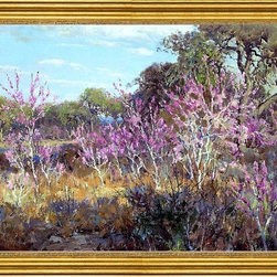 "Julian Onderdonk-16""x24"" Framed Canvas - 16"" x 24"" Julian Onderdonk Redbud Tree in Bloom at Leon Springs, San Antonio framed premium canvas print reproduced to meet museum quality standards. Our museum quality canvas prints are produced using high-precision print technology for a more accurate reproduction printed on high quality canvas with fade-resistant, archival inks. Our progressive business model allows us to offer works of art to you at the best wholesale pricing, significantly less than art gallery prices, affordable to all. This artwork is hand stretched onto wooden stretcher bars, then mounted into our 3"" wide gold finish frame with black panel by one of our expert framers. Our framed canvas print comes with hardware, ready to hang on your wall.  We present a comprehensive collection of exceptional canvas art reproductions by Julian Onderdonk."