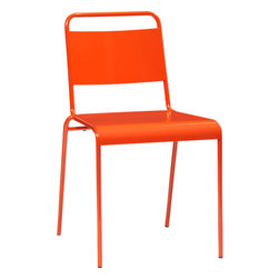 Lucinda Orange Stacking Chair - Here's a bright and colorful chair for the many guests you will have over.