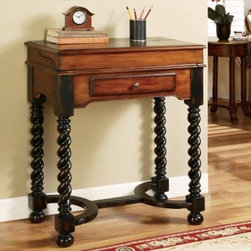 Hooker Jacobean Twist Leg Flip Top Writing Desk - Not only is the Hooker Jacobean Twist Leg Flip Top Writing Desk the perfect place to jot a quick note or postcard, it's also an eye-catching modern-vintage piece perfectly sized to grace the entryway, guest room, bedroom, or living room corner.This traditional desk is crafted from super-durable hardwood solids and cherry veneers, finished at the top in a warm, burnished medium brown and below, in rich black. The Jacobean twist legs and wrench-shaped crossbrace add unexpected modernity to the piece, which also boasts a classic flip-top wood-and-leather desktop that opens to a reveal a smooth brown leather writing surface with gold tooling and six pigeon holes. One lower storage drawer catches pens, notepads, and other small office supplies so you'll have them at the ready.Not available for sale in, or delivery to, the state of California.About Hooker Furniture CorporationFor 83 years, Hooker Furniture Corporation has produced high-quality, innovative home furnishings that seamlessly combine function and elegance. Today, Hooker is one of the nation's premier manufacturers and importers of furniture and seeks to enrich the lives of customers with beautiful, trouble-free home furnishings. The Martinsville, Virginia, based company specializes in lifestyle driven furnishings like entertainment centers, home office furniture, accent tables, and chairs.