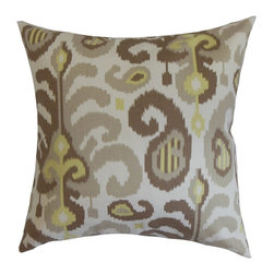 "The Pillow Collection - Scebbi Ikat Pillow Mineral 18"" x 18"" - It's good to come home to a place where it's relaxing and cozy. This accent pillow will turn your living room or bedroom into paradise with its plush and fluffy material. This square pillow features a beautiful ikat pattern in earth tones like brown, gray, green and white. Use this decor pillow as the highlight piece in your space. This 18"" pillow is American-made and uses 100% high-quality cotton fabric. Hidden zipper closure for easy cover removal.  Knife edge finish on all four sides.  Reversible pillow with the same fabric on the back side.  Spot cleaning suggested."