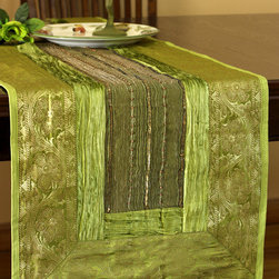 """Elegant Table Runners - Decorative Velvet and Silk """"Arabian Table Runner"""" Green Aple color. Beautifully hand crafted in India. Gold"""