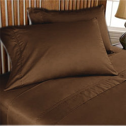 1000TC Egyptian Cotton Sheet Set 4pc Chocolate - FREE USA SHIPPING