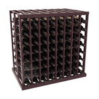 Double Deep Tasting Table Wine Rack Kit in Redwood with Burgundy Stain + Satin F - The quintessential wine cellar island; this wooden wine rack is a perfect way to create discrete wine storage in open floor space. With an emphasis on customization, install LEDs or add a culinary grade Butcher's Block top to create intimate wine tasting settings. We build this rack to our industry leading standards and your satisfaction is guaranteed.