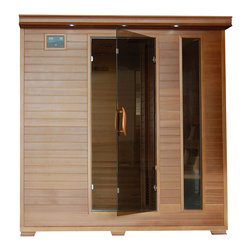 Blue Wave - 6-Person Cedar Carbon Infrared Sauna - Made out of durable and mildew resistant Canadian Red Cedar, this 6-person infrared sauna is perfect way to relax with friends and family. Relax with this sauna's included radio, benches and backrests among other health benefits that this offers.