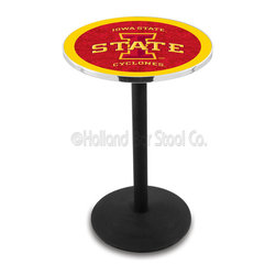 Holland Bar Stool - Holland Bar Stool L214 - Black Wrinkle Iowa State Pub Table - L214 - Black Wrinkle Iowa State Pub Table belongs to College Collection by Holland Bar Stool Made for the ultimate sports fan, impress your buddies with this knockout from Holland Bar Stool. This L214 Iowa State table with round base provides a commercial quality piece to for your Man Cave. You can't find a higher quality logo table on the market. The plating grade steel used to build the frame ensures it will withstand the abuse of the rowdiest of friends for years to come. The structure is powder-coated black wrinkle to ensure a rich, sleek, long lasting finish. If you're finishing your bar or game room, do it right with a table from Holland Bar Stool. Pub Table (1)