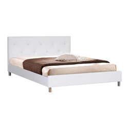 Baxton Studio - Baxton Studios Barbara White Modern Bed with Crystal Button Tufting - Queen Size - The sparkling gleam of the multi-faceted faux crystal buttons that