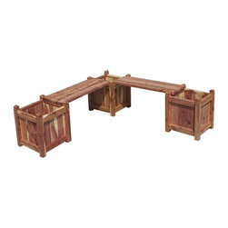 Natural Cedar Wood L-Shaped Planter Bench - Create a park-like atmosphere in your outdoor living space with this gorgeous Natural Cedar Wood L-Shaped Planter Bench. This bench is a great shape for adding more seating to the corner of a patio or deck.