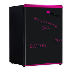 Sunpentown - Erase-Board Compact Refrigerator, Pink - Write and erase messages on the door of this cute compact refrigerator. Flush back, compact design is ideal for college dorm room or office. Reversible door offers versatility of left or right hand opening. Features tall bottle door rack, full-width freezer compartment, adjustable thermostat and much more.