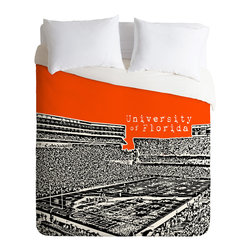DENY Designs - DENY Designs Bird Ave University Of Florida Orange Duvet Cover - Lightweight - Turn your basic, boring down comforter into the super stylish focal point of your bedroom. Our Lightweight Duvet is made from an ultra soft, lightweight woven polyester, ivory-colored top with a 100% polyester, ivory-colored bottom. They include a hidden zipper with interior corner ties to secure your comforter. It is comfy, fade-resistant, machine washable and custom printed for each and every customer. If you're looking for a heavier duvet option, be sure to check out our Luxe Duvets!