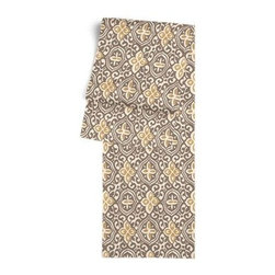 Tan & Gold Moroccan Mosaic Custom Table Runner - Get ready to dine in style with your new Simple Table Runner. With clean rolled edges and hundreds of fabrics to choose from, it's the perfect centerpiece to the well set table. We love it in this taupe and mustard yellow block print reminiscent of traditional Moroccan mosaics.