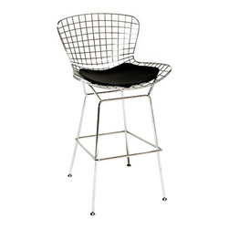 Lorca Chairs in Black - Set of 2 - Made from a stainless steel frame and an easy-to-clean, removable synthetic seat, this stool is a low-maintenance choice for the kitchen island or bar area. Belly up to the counter with this stool, which has a light, see-through quality and doesn't visually overwhelm the space. The stool is comfortable to sit in and looks great when lined up against the counter and viewed from the back.