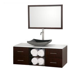 Wyndham - Abba 48in. Bathroom Vanity Set - Black Granite - The beautiful Abba bathroom vanity set showcases versatility with an open storage area for towels, baskets, and other toiletries, four drawers for other accessories, and a mirror that hangs horizontally or vertically to best suit your needs. Customize it with your choice of countertop and sink.