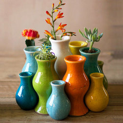 Fiestita Ceramic Bud Vases - Set of 13 - Stems and snips look wild and wonderful springing up from this eclectic assortment of bud vases. A rainbow of glazes give these small touches big impact grouped together, and statement style as a standalone. For an interesting twist, use their curvy forms as a starter planter for succulent clippings.