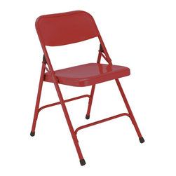 National Public Seating - Premium All-Steel Folding Chair - Set of 4 - This folding chair might be simple in construction but its color will ensure that it gets noticed. Easy to fold up and put away after use, this chair can be stored in a closet or on a rack with other chairs. Buy one set or buy a few to suit all of your needs and provide the affordable seating options that you have been looking for around the house or the office. Knock your clients�۪ socks off with this simple but colorful steel folding chair. Minimum order quantity is four but you will want buy more. * Set of 4. 18-gauge steel tubing. Electromagnetically welded seat back. Unique full size double contoured square back and waterfall seat. Two U-shaped double riveted cross braces. V-shaped stability plugs. Double hinges on side for added stability and durability. Steel contains 30-40% of post-consumer waste (recycled). Meets ANSI and BIFMA standards. Warranty: Five years for material. Weight capacity: 480 lbs.. 18.25 in. W x 20.25 in. D in. x 29.5 in. H