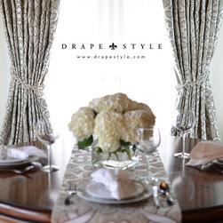 Newport Beach - Custom Drapery in Schumacher Amboise Linen color Greige by DrapeStyle.  Handmade in the USA.