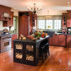 kitchen-cabinets-traditional-two-tone-129-cp012a-red-black-early-american-island