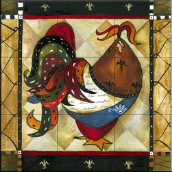 The Tile Mural Store (USA) - Tile Mural - Tuscan Rooster III  - Kitchen Backsplash Ideas - This beautiful artwork by Jennifer Garant has been digitally reproduced for tiles and depicts a whimsical rooster.    Rooster tile murals and decorative tiles with roosters are the perfect addition to your kitchen backsplash tile project. You can't go wrong with any of our decorative rooster tiles - each one is beautiful and will certainly add interest to your kitchen wall tile. Tile murals of roosters are timeless and will never go out of style. Add something unique to your kitchen backsplash behind your stove or sink.