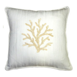 Pillow Decor - Pillow Decor - Sea Coral in White and Champagne 17 x 17 Throw Pillow - Coral patterns never cease to amaze and inspire us. The Sea Coral in White and Champagne Throw pillow combines a beautifully embroidered champagne coral design on a wonderfully textured white cotton fabric. A perfect finishing touch for a bed, beach house or cabana.