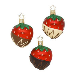 Inge-Glas Christmas Ornaments, Set of 3 Strawberry Heaven - Berry delicious! Hang these chocolate-dipped strawberries from your tree to add some yumminess without the guilt.