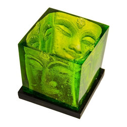 Foreign Affairs Home Decor - Ani Square Buddha Head Candle Holder In Green - Delightful Buddha Glass Candle Holder. Tealight not included. 3 in. L x 3 in. W x 4 in. H (2 lbs)