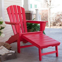 POLYWOOD - Adirondack Chair: Polywood Recycled Plastic Big Daddy Adirondack Chair with Pull - Shop for Chairs and Sofas from Hayneedle.com! Additional features Choose from a rainbow of color options Built-in slide-out ottoman is ready when you are Sink in sit back and put your feet up. The Poly-Wood Recycled Plastic Big Daddy Adirondack Chair is ready for all three. Crafted of recycled plastic this is one chair that won't cause you any trouble. You'll never have to sand paint or stain and it will never warp crack or fade. It's going to look this good years from now. You can choose from a variety of colors for the one that puts a smile on your face. This Adirondack chair features a spacious seat and a comfort back for the best in relaxation. The wide armrests really let you relax and they'll also hold your drink for you. The best feature though is the slide out ottoman. Simply pull it out when you're ready to go full force in your lounging and push it in when you need to save a little space. It's ready when you are.
