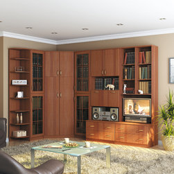Boston 8 PC Corner Wall Unit with Corner Shelf Stand - This quality Corner Wall Unit with Corner Shelf Stand in Chestnut. It includes stylish china cabinet, spacious and ergonomic corner wardrobe, beverage cabinet can fulfill the function of the bar, practical cabinet with 2 Drawers and shelf stand.
