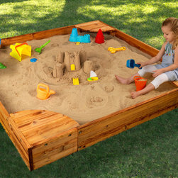 Kids Kraft - Kids Kraft Backyard Sandbox - Kids Kraft Backyard Sandbox gives wide space to your kids to build sandcastles, dig for their treasure and play with all of their favorite sand toys in your playground. Your Parents will really love when they watching their kids having so much fun without even leaving the backyard, Corners double as convenient seating. It has mesh cover when sandbox is not in use. It is also Large enough that multiple children can play at once. its Reinforced wooden panels preventing warping and weathering.