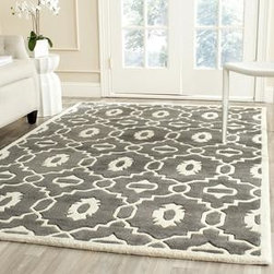 Safavieh - Safavieh Chatham CHT745D 8' x 10' Dark Grey, Ivory Rug - The Chatham collection by Safavieh contrasts ancient Moroccan motifs with a fashion-forward palette of bright and pastel colors. These stunning hand-tufted wool rugs are crafted in India to recreate the elegant look of hand-knotted carpets for today's life.