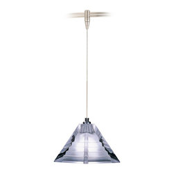 """Tech Lighting - Pressed Frost Glass Pyramid Tech Lighting MonoRail Pendant - From Tech Lighting this pendant has a luminous contemporary design that catches the light beautifully. The pressed frost glass has a subtle step pattern embedded inside. This fixture includes a connector to the low-voltage Tech Lighting MonoRail system. With its hand bendable rail the MonoRail system has the flexibility to light even the most difficult spaces. Includes one 50 watt halogen bi-pin bulb. Includes six feet of field-cuttable suspension cable. 3"""" high. 3 1/2"""" wide.  Frost pressed glass.  Satin nickel finish.  Connector adapts to Tech Lighting monorail system.  Includes one 50 watt halogen bi-pin bulb.  Includes six feet of field-cuttable suspension cable.  3"""" high.  3 1/2"""" wide.  Price is for one MonoRail pendant.  See below for complete MonoRail system."""