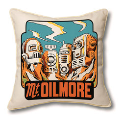 Museum of Robots - Pillow Cover: Mt. Oilmore - Imagine intergalactic travel with one of our Space Travel Series pillow covers. Mt. Oilmore is one of the most visited robot heritage sites in the galaxy, and this pillow cover is the perfect memento of your visit. Art by artist John Bell.