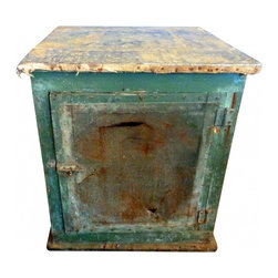 pie safe - Incredible original green paint, zinc top with remnants of ticking fabric nailed to top.