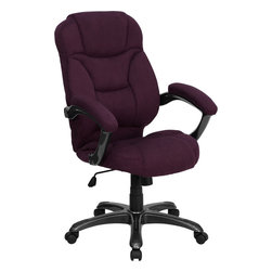 Flash Furniture - Flash Furniture High Back Grape Microfiber Upholstered Contemporary Office Chair - This is a very attractive high back office chair that displays contemporary flair. Plush microfiber upholstery provides comfort with the extra Thick padded seat and back. Built-in lumbar support will provide comfort when working for long hours. Thickly padded armrests will provide extra comfort. chair features a titanium nylon base with back caps that prevent feet from slipping. For your next office chair, look no further than this extremely comfortable and stylish microfiber office chair! [GO-725-GRPE-GG]