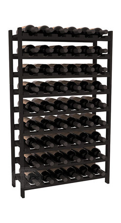 Wine Racks America - 54 Bottle Stackable Wine Rack in Premium Redwood, Black Stain - Three times the capacity at a fraction of the price for the 18 Bottle Stackable. Wooden dowels enable easy expansion for the most novice of DIY hobbyists. Stack them as high as you like or use them on a counter. Just because we bundle them doesn't mean you have to as well!