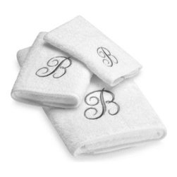 Avanti - Avanti Premier Silver Script Monogram Fingertip Towels in White - Classic and sophisticated, these monogrammed towels will add that subtle personal touch to your bathroom decor. Script letter is embroidered with great detail over an incredibly soft towel.