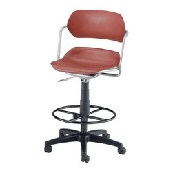"""OFM - OFM Martisa Armless Swivel with Drafting Kit with Silver Frame in Wine - OFM - Drafting Chairs - 200DKSLVRWNE - Contemporary style and comfort come together with OFM's 200-DK Martisa Series Task Stool. Choose from a variety of seat and frame color combinations for this contemporary design. Users get easy positioning with the gas lift seat height adjustment and the contoured polypropylene seat and back. The seat swivels a full 360 degrees. The 16-gauge tubular steel frame and 25"""" black 5-star wheeled base add stability. Foot ring gives users a leg up in comfort. Weight capacity up to 250 lbs."""