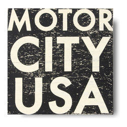 Go Jump in the Lake - Go Jump in the Lake Motor City USA Wall Art - Detroit by Design. Celebrate your love of all things Detroit with the Motor City USA Wall Art from Go Jump in the Lake. Featuring bold white lettering on a weathered black background, this piece is a simple way to proclaim your allegiance to Motown. Company owners Laurie and Lee Dayvault make each of their signs by hand, screen-printing and distressing the wood to create a rustic, relaxed look. Water-resistant paint helps it withstand the elements, while a fitted picture wire on the back allows for easy installation. Let everybody know that Detroit has you all revved up with this chic wall art from Go Jump in the Lake.Handcrafted in the USAUnframed plywood and water-resistant paintBack is painted and fitted with picture wireCoat with polyurethane prior to hanging outside permanently