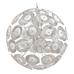 Kathy Kuo Home - Modern Dandelion Glass Ball 6 Light Pendant Ball Chandelier - A perfect accompaniment to any mid century or contemporary space, this modern Italian influenced dandelion chandelier has the attitude of a chic, oversized piece of jewelry.