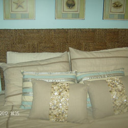Guest Bed Room - Natural hand woven Sea grass headboard by pier1 imports