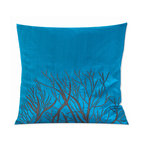 Vintage Maya - Okinawa Silk Embroidered Pillow Cover - Add a dazzling dash of color to your sofa or bed with this exquisite square pillow cover. Inspired by the natural beauty of Okinawa, this pillow cover features a stately tree against a brilliant blue background.