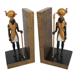 Zeckos - Pair of Egyptian Falcon God Horus Bookends - In ancient Egyptian religions, Horus was the son of Isis and Osiris. The God of the sky, and well as a Sun and Moon God, Horus united Egypt and bestowed divinity upon the pharaohs who were viewed as incarnations of Horus in life. This pair of gorgeous Horus bookends is the perfect gift for lovers of Egyptian art. Made of cold cast resin, they are hand painted with black and gold enamels, and show intricate detail. Each bookend measures 6 1/2 inches tall, 3 1/2 inches wide and 3 1/4 inches deep. This pair also makes a great present for the holidays or for housewarming gifts. They look great on bookshelves and on top of desks or tables.