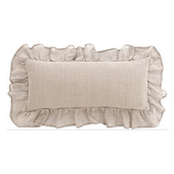 Pine Cone Hill - linen mesh pillow (15x35) - A statement-making, 4-ply linen mesh decorative pillow with a dramatic 6-in. ruffle. Zipper closure.��This item comes in��natural.��This item size is��35w 15h.