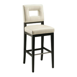 """Pastel Furniture - Hajime Barstool - This beautifully made contemporary barstool has a simple yet elegant design that is perfect for any decor. An ideal way to add a touch of modern flair to any dining or entertaining area in your home. This barstool features a wood frame with sturdy legs finish in ballarat black with a foot rest in stainless steel. The padded seat is upholstered in bonded white leather offering comfort and style. Available in 26"""" counter height or 30"""" bar height."""