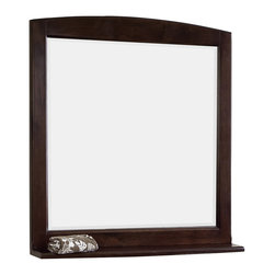 American Imaginations - 30-in. W x 32-in. H Traditional Birch Wood-Veneer Wood Mirror - This traditional wood mirror belongs to the exquisite Juliet design series. It features a rectangle shape. This wood mirror is designed to be installed as an wall mount wood mirror. It is constructed with birch wood-veneer. This wood mirror comes with a lacquer-stain finish in Walnut color. Victorian style mirror constructed with high quality premiumglass with bevelled edges This Wood Mirror features Antique Brass hardware. Features a small shelf for your essentials