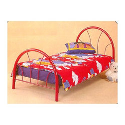 "Coaster - Twin Size Metal Headboard & Footboard in Red - Bring a touch of style into your child's bedroom with matching head and footboards for twin sized beds.  The tubing design on the boards allows for easy movement and assembly.  The durable metal construction means that children can have the same bed forever.  Available in five wonderful colors, including black, red, and pink to meet room decor needs.  This meticulously constructed headboard and footboard is defined by durable 2"" metal tubing and a stylish fan design, perfect for their bedroom's d̩cor. * 2"" Metal Tubing. Complete arch. Fan Design. 40-1/2"" H x 30-1/2"" H x 39"" W"